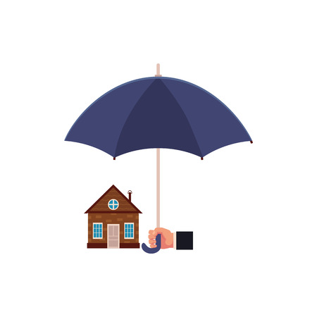 Flat vector house insurance concept. Private house being protecting from disasters by business hand holding big umbrella. Natural disaster insurance scenes isolated illustration on a white background. 일러스트
