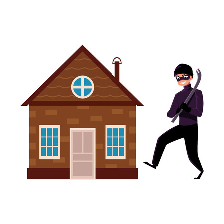 Flat vector house insurance concept set. House being attacked by housebreaker, burglar or thief in black suit holding crowbar isolated illustration on a white background. Illustration