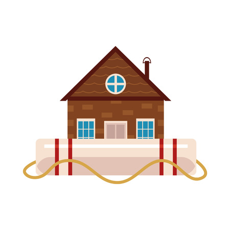 Flat vector house insurance concept. Private house being protecting from flood disasters by big inflatable unsinkable ring. Natural disaster insurance isolated illustration on a white background.