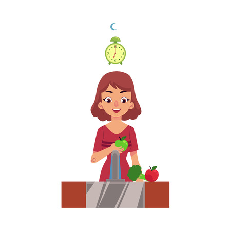Woman washing apples and broccoli in tap water, flu prevention concept, cartoon vector illustration isolated on white background. Girl or woman washing and eating apple in evening time for better health.