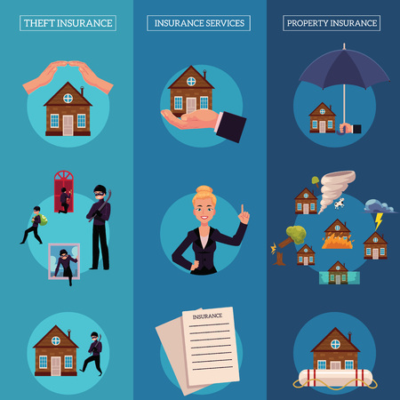 House insurance infographic posters vector set. House, property insurance, insurance services , natural disasters, thief, housebreaking compensation for damage illustration on blue background.