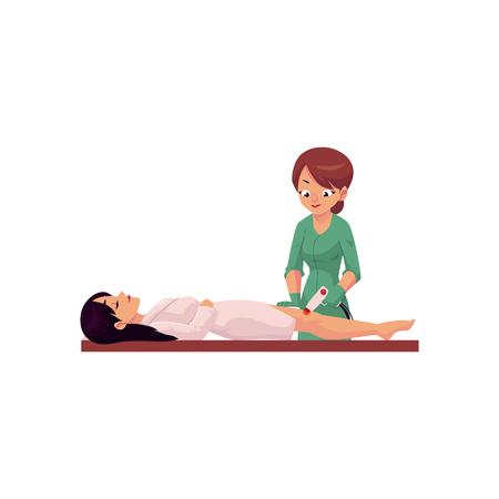 치료사, 미용사 여자 미용사, 스파, 클리닉, 흰색 배경에 고립 된 만화 벡터 일러스트 레이 션에 대 한 레이저 다리 머리 제거 절차를 하 고.