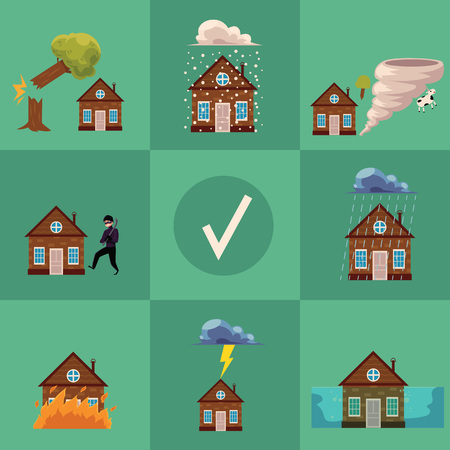 Flat vector house insurance concept poster. House being damaged by wind, rain, lighting fire, snow, tornado hurricane or whirlwind, by flood and falling tree. Natural disaster insurance scenes.