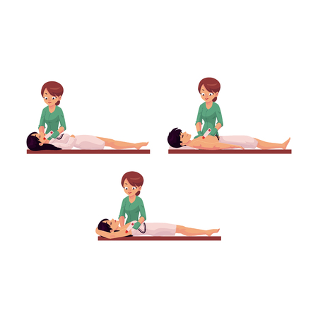 Cartoon salon hair removal scenes vector set. Woman therapist in professional cosmetology beauty clinic removing hair from face, legs and armpits of young cute girl and from chest of man by laser.