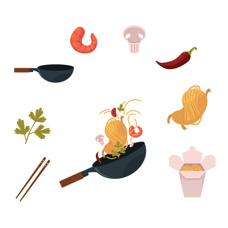 Cooking Thai, Japanese, Chinese noodle in wok pan and ingredients, cartoon vector illustration isolated on white background. Thai, Chinese cuisine wok, noodle, shrimps, mushroom, chopstick. Ilustração