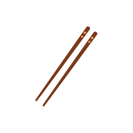 Pair of bamboo Asian, Chinese, Japanese chopsticks, flat style vector illustration isolated on white background. Two, couple, pair of traditional flat style chopsticks, Chinese, Japanese, Thai cuisine.