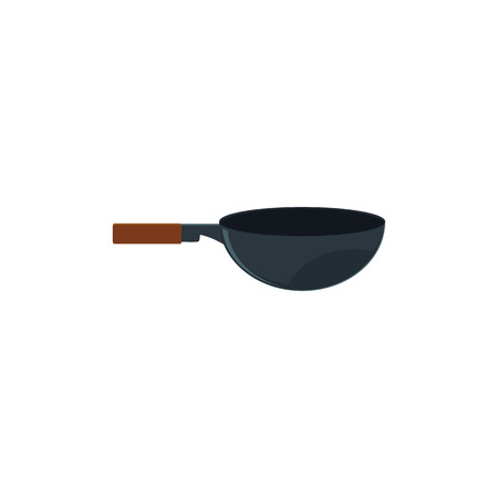 Single side view wok pan, kitchen utensil for Thai, Japanese, Chinese cuisine, cartoon vector illustration isolated on white background. Isolated cartoon illustration of wok pan.