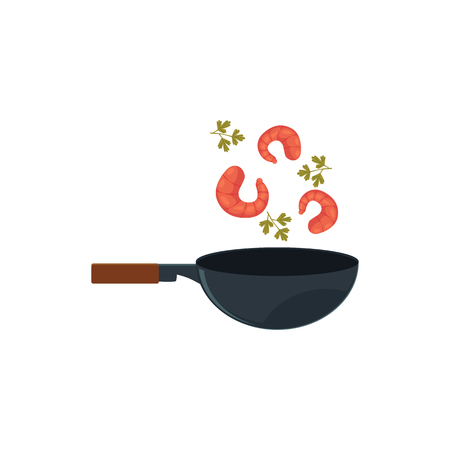 Shrimps, prawns and parsley, coriander leaves cooking in wok, Thai, Japanese, Chinese cuisine, cartoon vector illustration isolated on white background. Cooking shrimps, prawns with greens in wok pan.