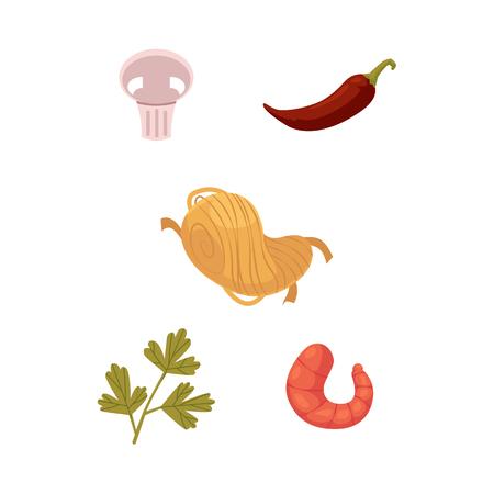 벡터 플랫 아시아 wok 우동, 큰 로얄 새우, 칠리 고추, 파 슬 리, 버섯. 동등한 패스트 푸드 메뉴 디자인을위한 튀김 아이콘을 저 어. 흰색 배경에 고립 된