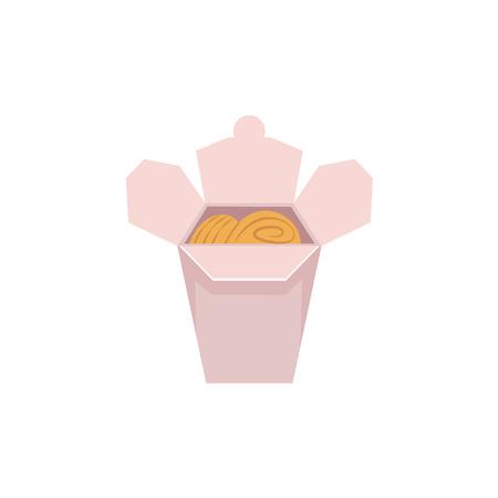 vector plat Aziatische wok udon noedels in papieren doos. Roerbak oostelijk fastfood-pictogram voor menuontwerp. Geïsoleerde illustratie op witte achtergrond.
