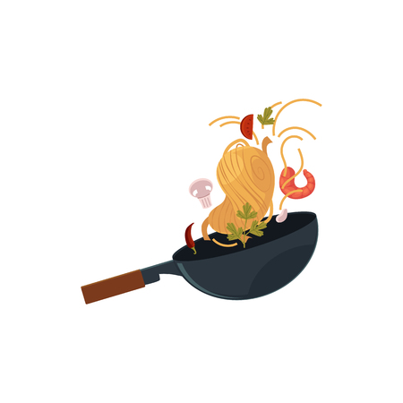 vector flat Asian iron wok pan with flipping shrimp, chili pepper, mushrooms, parsley, tomato, udon noodles. Stir fry cooking process icon for menu design. Isolated illustration on white background.
