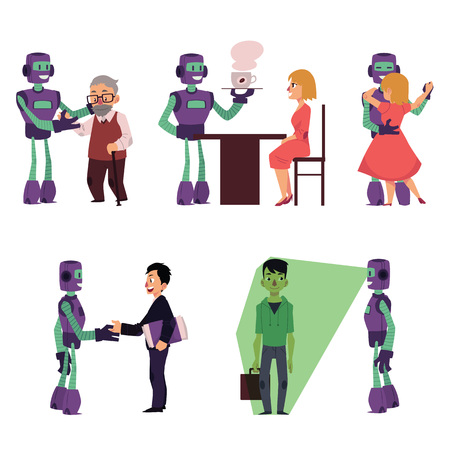 Set of robot assistants helping people, cartoon vector illustration isolated on white background. Robot assistants helping old man, serving coffee, dancing, making business, doing security scan.