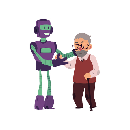 Artificial intelligence, robot helping old man with cane to walk, cartoon vector illustration isolated on white background. Robot helping, supporting, caring of old man having problems with walking. Illustration