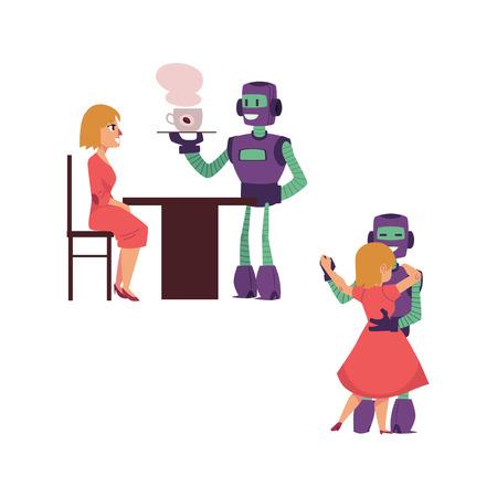 Conjunto de cenas de interação do vetor plana robôs pessoas. Empregado de mesa do robô que serve o café à mulher, uma outra dança do bot com menina bonito. Ilustração isolada. Foto de archivo - 93731223