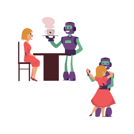 vector flat robots people interaction scenes set. Robot waiter serving coffee to woman, another bot dancing with cute girl. Isolated illustration. Иллюстрация