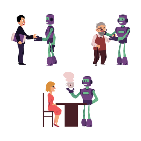 Flat robots people interactions. Robot assistant helping aged man to cross the road, another bot dealing with businessman handshaking, bot waiter serving coffee to woman isolated illustration.