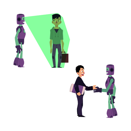 vector flat robots people interaction scenes set. Robot assistant scanning man with case by x-ray vision, another bot dealing with businessman shaking hands. Isolated illustration, white background.