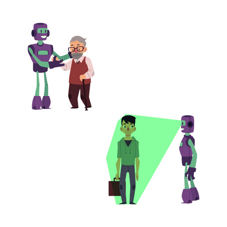 vector flat robots people interaction scenes set. Robot assistant scanning young man with case by x-ray vision, another bot helping aged man to cross the road. Isolated illustration, white background.