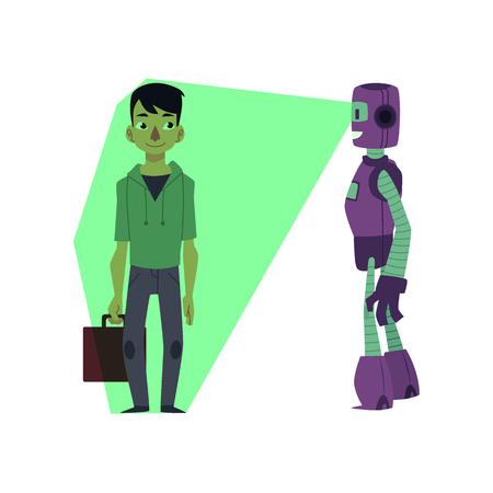 vector flat futuristic robots people interaction scenes set. Robot assistant scanning young man with case by x-ray vision. Isolated illustration on a white background.