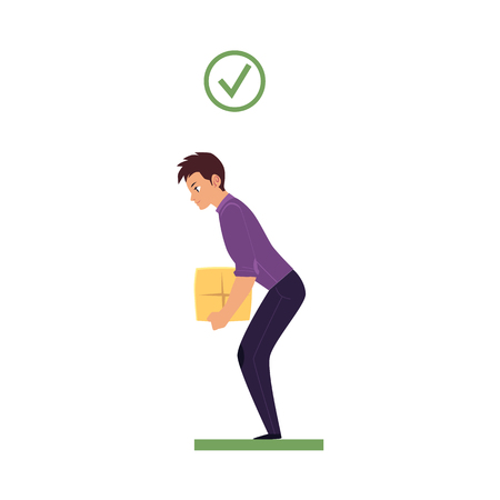 Correct back spine alignment of young cartoon man character lifting weight. Healthy spine curvature, Spine care concept. Vector isolated illustration on a white background. Çizim