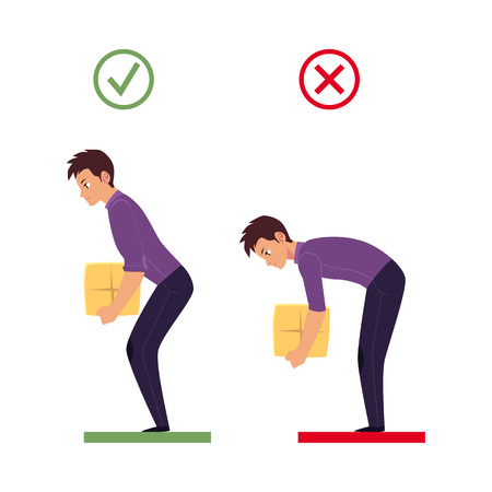 Correct, incorrect back spine alignment of young cartoon man character lifting weight. Healthy and unhealthy spine curvature, Spine care concept. Vector isolated illustration on a white background.