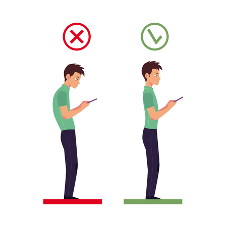 Correct and incorrect neck and spine alignment of young cartoon man character using smartphone. Healthy head bending positions, inclination of neck. Spine care concept isolated illustration.