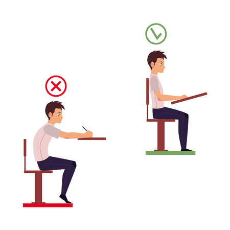 Correct and incorrect neck and spine alignment of young cartoon man character sitting at desk writing. Head bending positions, inclination of neck. Spine care concept isolated illustration.