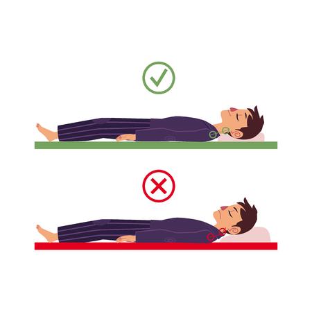 背中の睡眠姿勢で眠っている若い漫画の男のキャラクターの間違った正しい首と脊椎の位置合わせ。不健康な睡眠位置、背中、脊椎ケアコンセプト  イラスト・ベクター素材
