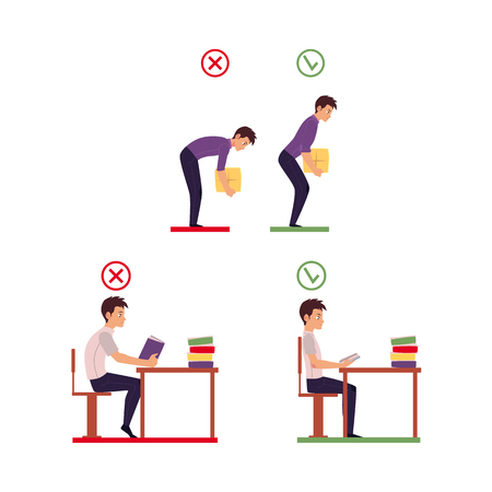 Correct and incorrect neck, spine alignment of young cartoon man character sitting at desk, lifting weight. Head bending positions, inclination of neck, spine care concept vector isolated illustration.