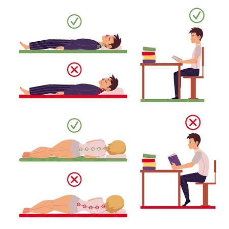 Correct and incorrect back and neck posture for sleeping and working, cartoon vector illustration isolated on white background. Side view picture of people showing correct and incorrect posture.