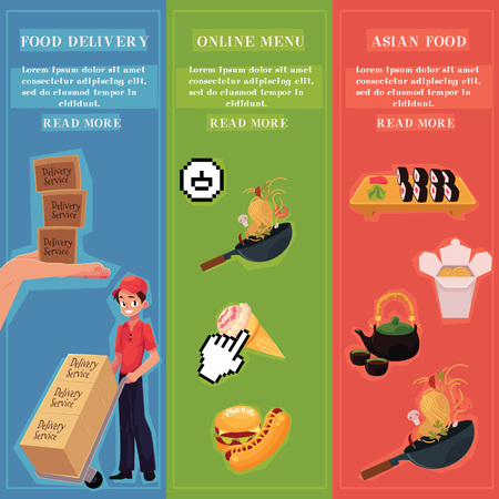 Online menu, Asian food and food delivery infographic vector posters set with space for text. Delivery service, online cafe, restaurant with fast food, wok, sweets, Chinese, Japanese food advertisement template.