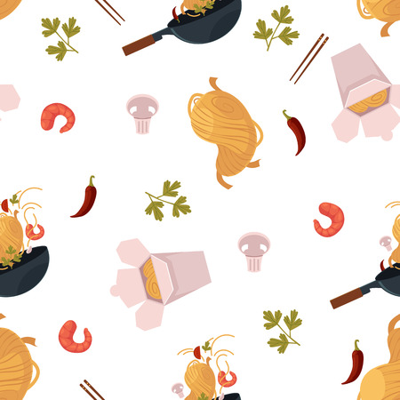 Flat vector Asian wok seamless pattern. Udon noodles in paper box, large royal shrimp, chili pepper and mushroom, pan. Stir fry eastern fast food icons for menu design isolated illustration.