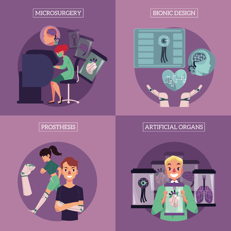 Bionic organs in modern medicine conceptual infographic vector posters with space for text illustration. Modern technologies in prosthetics, robotic internal organs design, engineering, microsurgery.