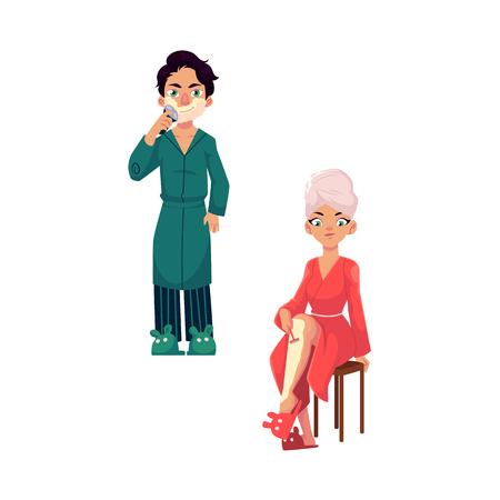 Cartoon vector people doing hair removing procedure. Man in bathrobe shaving his beard, girl shaving her legs. Epilation, depilation scene set isolated illustration on a white background. Illusztráció