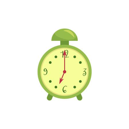 レトロなスタイルの緑の目覚まし時計、漫画のベクトルイラストは、白い背景に隔離されています。定型化された漫画の目覚まし時計、時間、締め