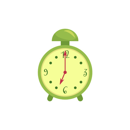 Retro style green alarm clock, cartoon vector illustration isolated on white background. Stylized cartoon alarm clock, time, deadline concept, decoration element.