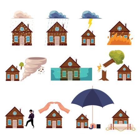 家の保険アイコンのセット、ハリケーンからの保護、火災、洪水、盗難、落下木、雷、漫画スタイルのベクトルイラストは、白い背景に隔離されて