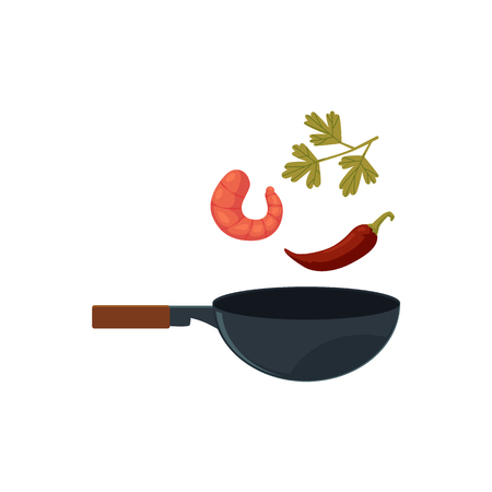 vector flat asian iron wok pan with flipping shrimp, chili pepper and greenery for udon noodles. Stir fry coocking process icon for menu design. Isolated illustration on a white background.
