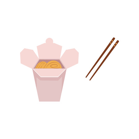 Vector flat Asian wok udon noodles in paper box with bamboo sticks. Stir fry eastern fast food icon for menu design. Isolated illustration on white background.