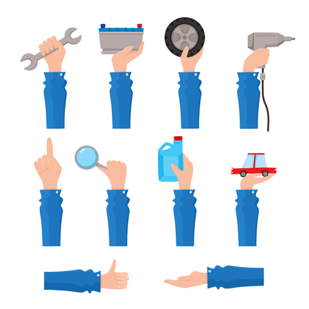 Set of auto service, maintenance icons with hand holding tools, pointing up, showing thumb up, flat vector illustration isolated on white background. Set of flat auto service, maintenance icons.