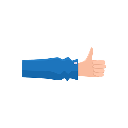 Vector flat handyman worker man hand in blue uniform, maintenance, mechanic service employee showing thumbs up gesture sign. Isolated illustration on a white background.