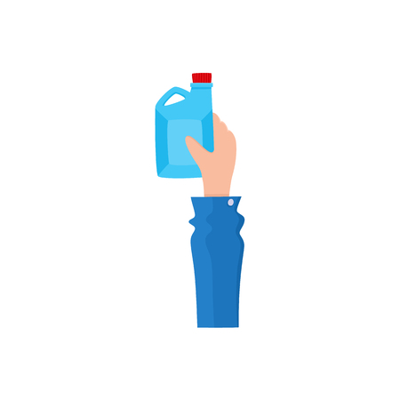 Hand holding plastic oilcan, gasoline can, fuel tank, flat style icon, vector illustration isolated on white background. Flat icon of hand holding plastic oil, fuel tank, oilcan, gasoline can.