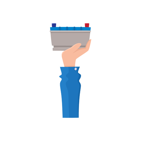 Hand holding car battery, accumulator sell, flat icon, auto service, maintenance concept, vector illustration isolated on white background. Flat icon of male hand holding car battery, accumulator sell. Stok Fotoğraf - 93755005