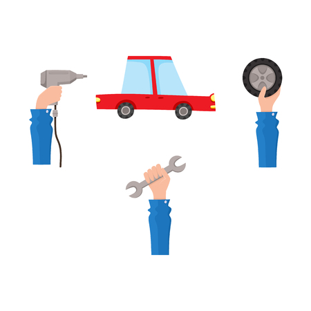 Vector flat car service, maintenance icons set. Man mechanic hand in working uniform holding wrench, automatic screwdriver, car wheel and sedan red car . Isolated illustration on a white background.