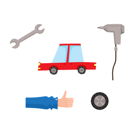 Vector flat car service, maintenance icons set. Man mechanic hand in working uniform thumbs up, automatic screwdriver, car wheel, wrench and sedan red car . Isolated illustration on a white background.