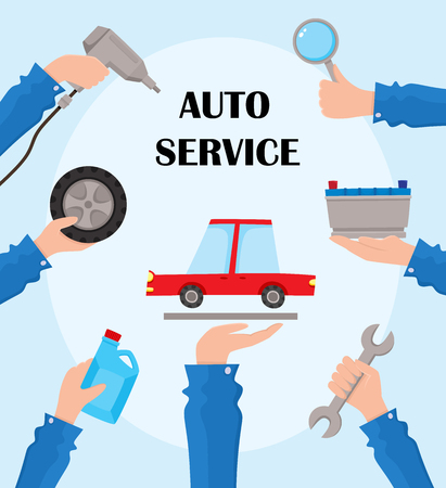 Vector flat auto service poster with handyman hands holding repairing tools and car. Man hand in uniform holding wrench, engine oil canister, automatic screwdriver, car wheel. Illustration on blue.