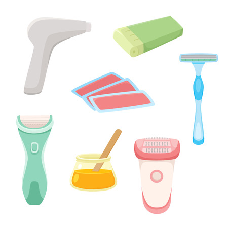 Vector flat hair removal tools set. Electric epilator, shaver, shaving razor, waxing strips, hot wax in bowl and laser machine icons for your design. Isolated illustration on a white background.