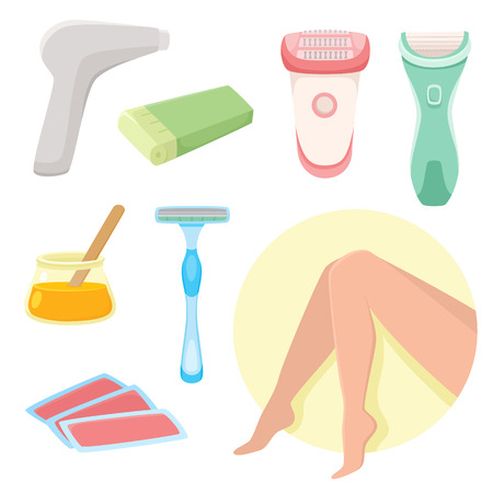 vector flat hair removal tools set. Electric epilator, shaver, shaving razor, waxing strips, hot wax in bowl laser machine, well-groomed woman legs icons . Isolated illustration on a white background.
