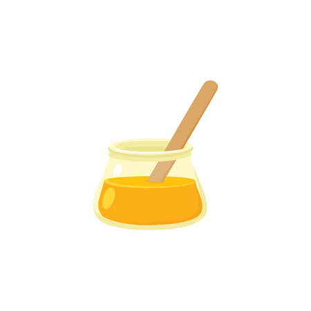 Sugaring paste in transparent glass jar, sugar waxing tool for hair removal, flat style icon, vector illustration isolated on white background. Flat icon of sugaring paste in jar and sugar waxing concept.