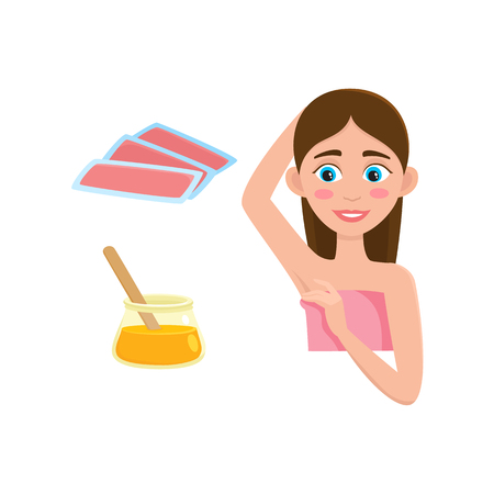 Flat vector girl in pink towel showing clean epilated armpit. Hair removal tools, armpit epilation concept and wax strips, hot wax in bowl icon isolated illustration on a white background. Illustration